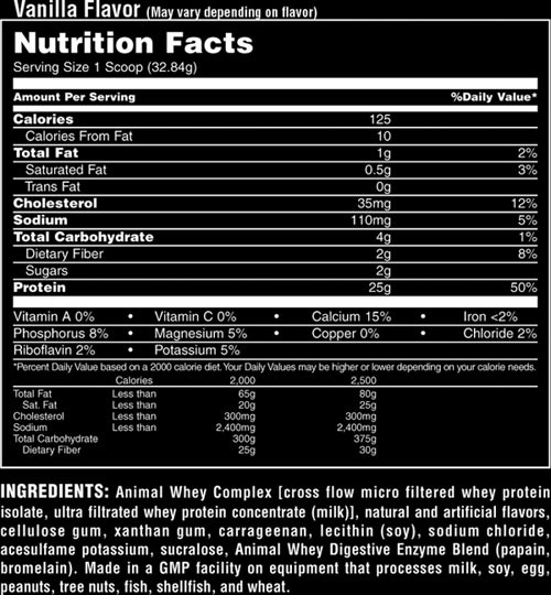 animal whey label
