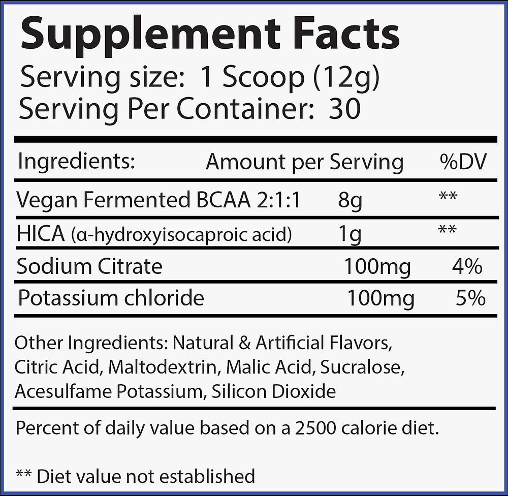 amino infusion label ingredients