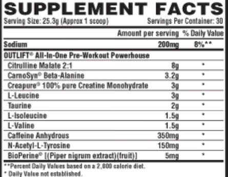nutrex outlift ingredients