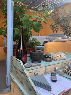 Interior colorful patio for Roka Restaurant in Oia on Santorini in Greece