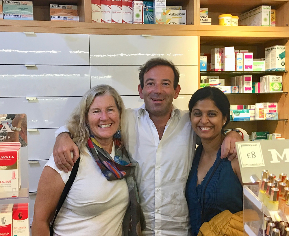 Siri Kay Jostad of Wander Away with Siri Kay and Vaishali Patel of Sanskar Teaching with Carlo Montefusco of Parafarmacia Positano Italy