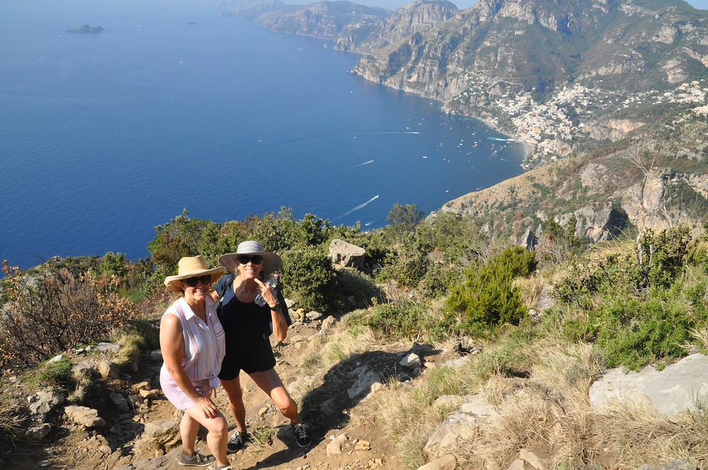 Siri Kay Jostad of Wander Away with Siri Kay with Katie Bowles on the Path of the Gods trail in Positano Italy