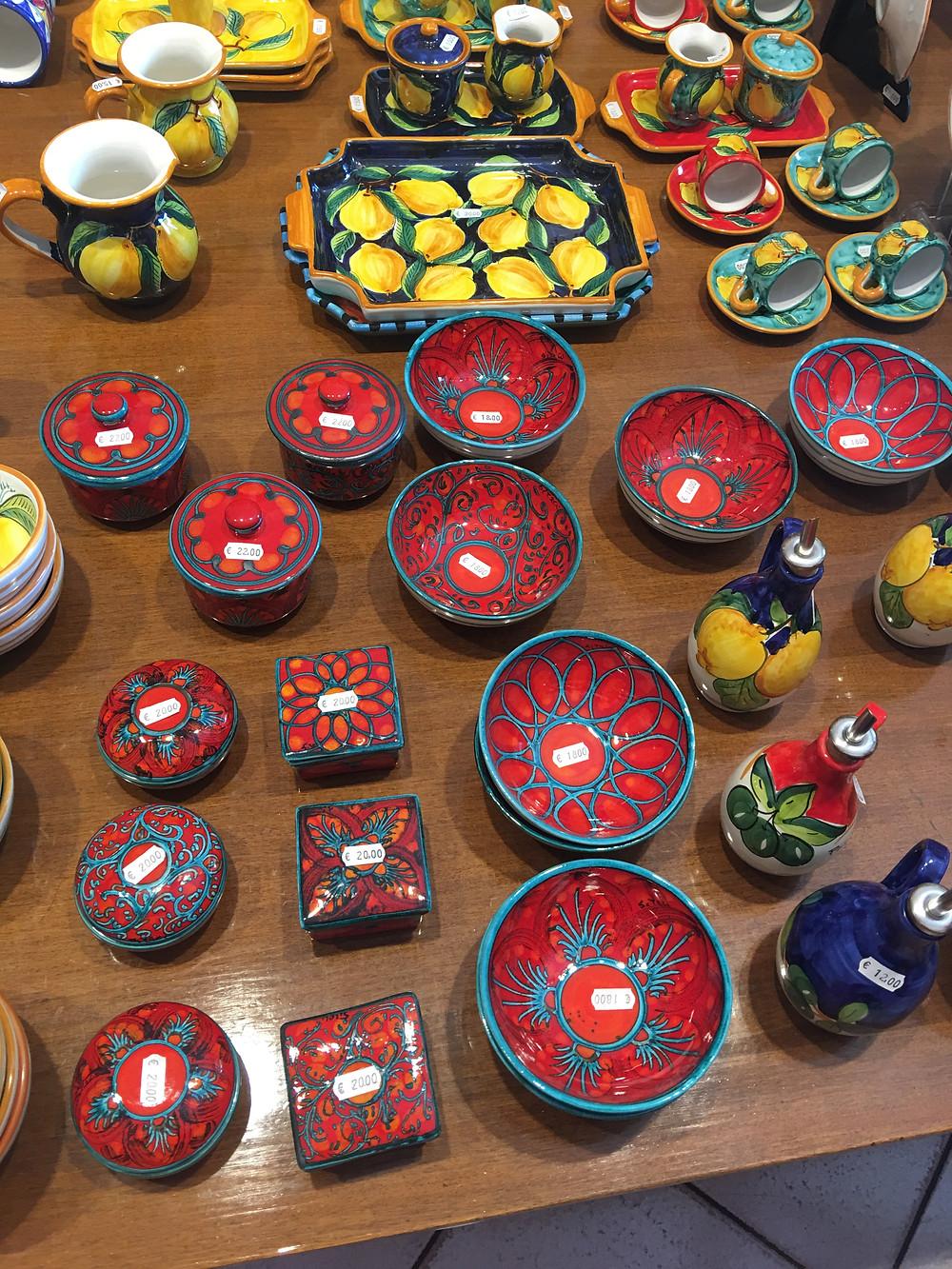 Italian pottery in Positano Italy