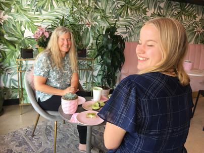 Siri Kay Jostad of Wander Away with Siri Kay and Meghan Wahlen at Holy Matcha in San Diego California