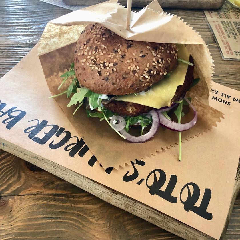 Burgers served on planks