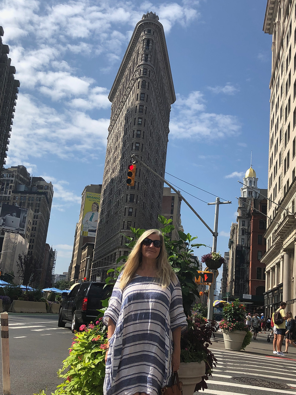Siri Kay Jostad of Wander Away with Siri Kay standing in front of the Flatiron building in New York City