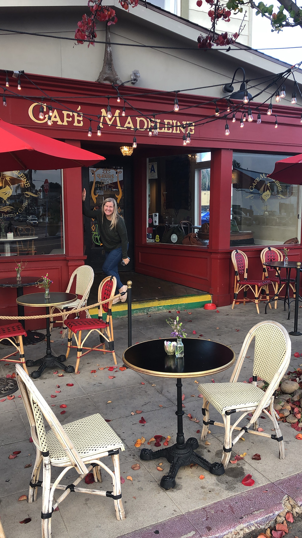 Siri Kay Jostad of Wander Away with Siri Kay in front of Cafe Madeleine in South Park San Diego California