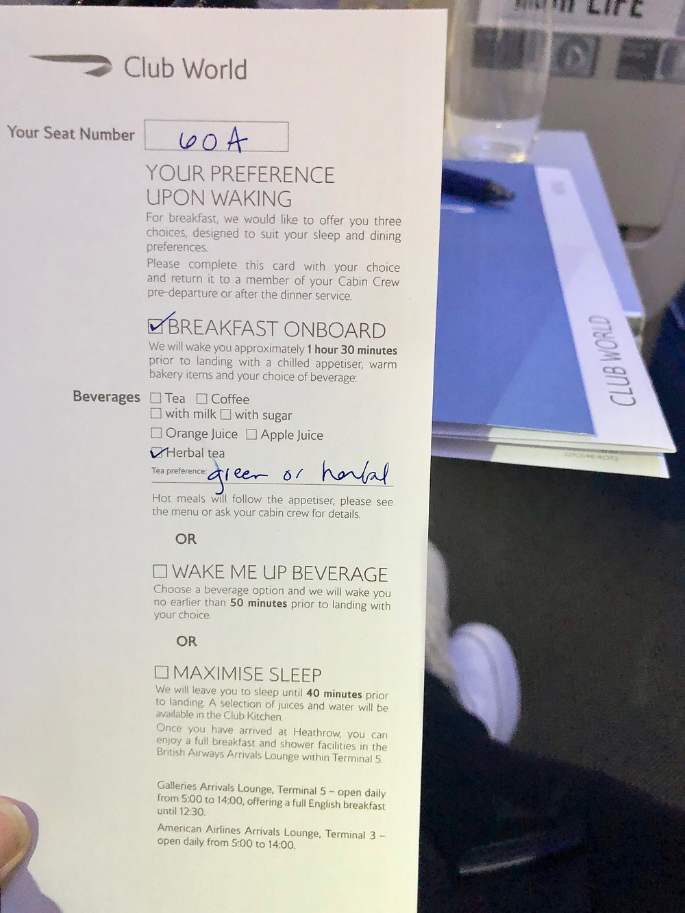 Form for ordering breakfast on British Airways Club World
