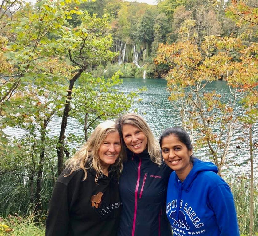 Siri Kay Jostad, Katie Kelly  Bowles and Vaishali Patel at Plitvice Lakes National Park, Croatia