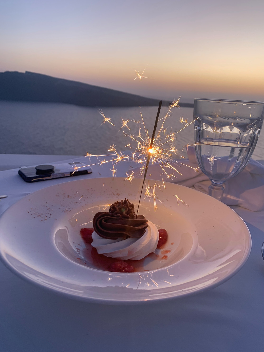 Volcano Surprise dessert at Fenari Villas and Restaurant in Oia Santorini Greece