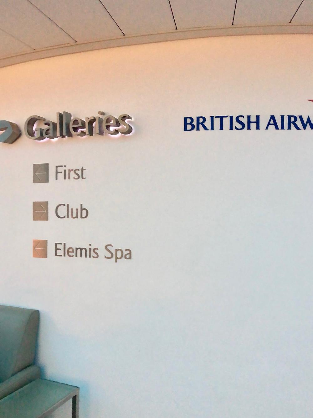 Entrance to the Elemis Spa at the Heathrow BA Lounge