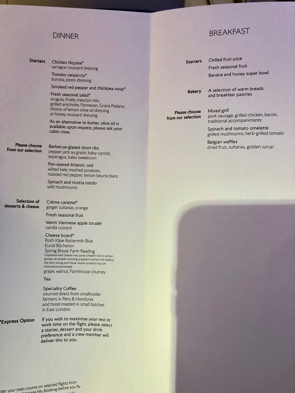The Breakfast and Dinner Menus for Club World Business Class