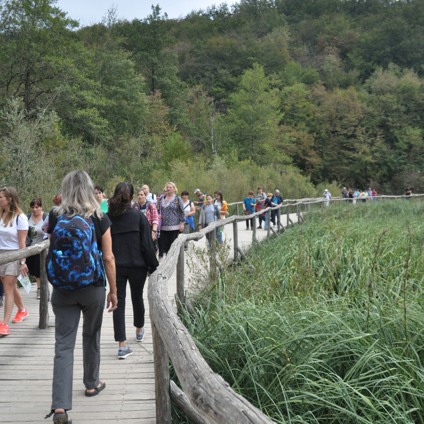 the crowds at Plitvice Lakes National Park, Croatia
