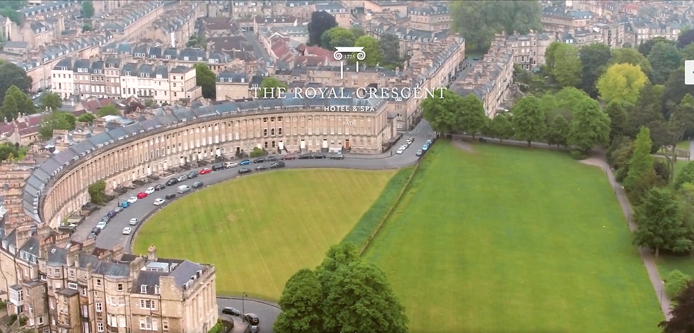 Aerial view of the Royal Crescent Hotel, Bath, England
