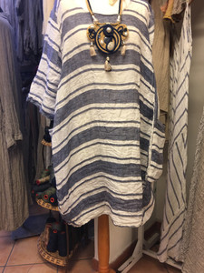 blue and white striped linen dress from Linomania in Positano Italy