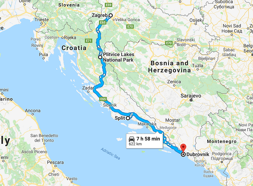 Map of best Croatia travel route.png