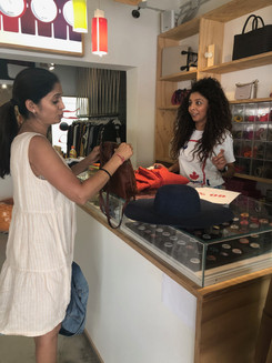 Vaishali Patel of Sanskar Teaching at the O Bag store in Fira Santorini Greece
