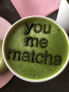 You Me Match hot matcha latte from Holy Matcha San Diego