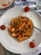 Vegetable pasta at Pelekanos Restaurant in Oia Santorini Greece