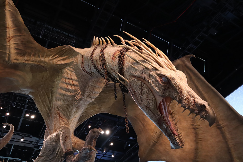 The dragon hanging from the ceiling of the entry hall of the Warner Bros Studio Tour London the Making of Harry Potter