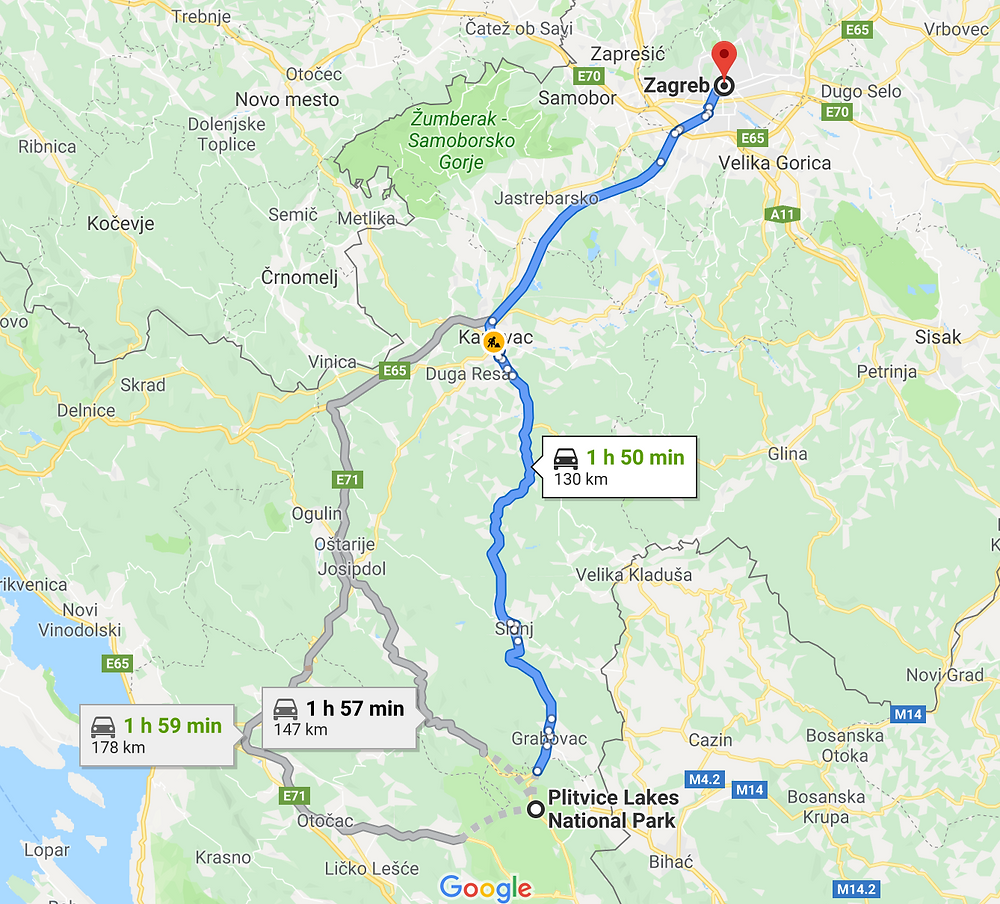 Drive to Plitvice National Park from Zagreb Croatia map