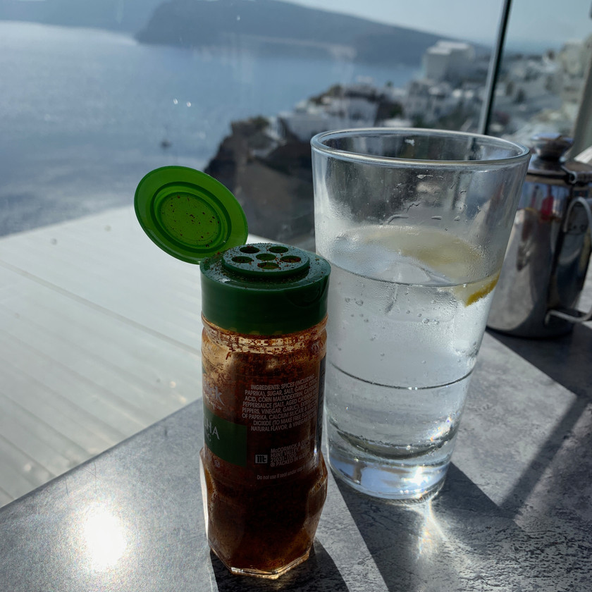 Achaar masala with a caldera view from the patio at Skiza Pizzeria Cafe in Oia Santorini Greece