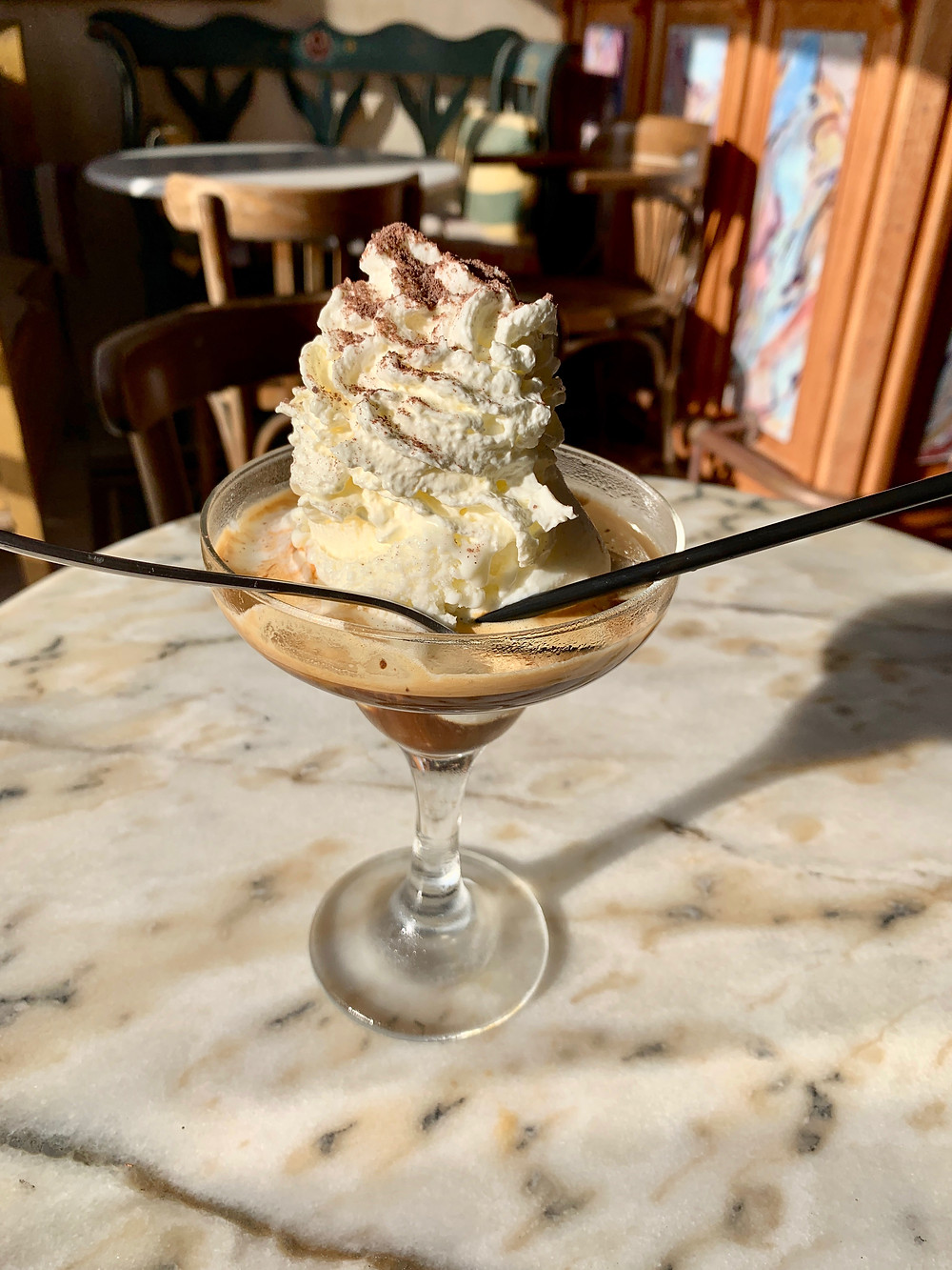 Affogato (ice cream with espresso) served at Meteor Cafe Oia Santorini Greece