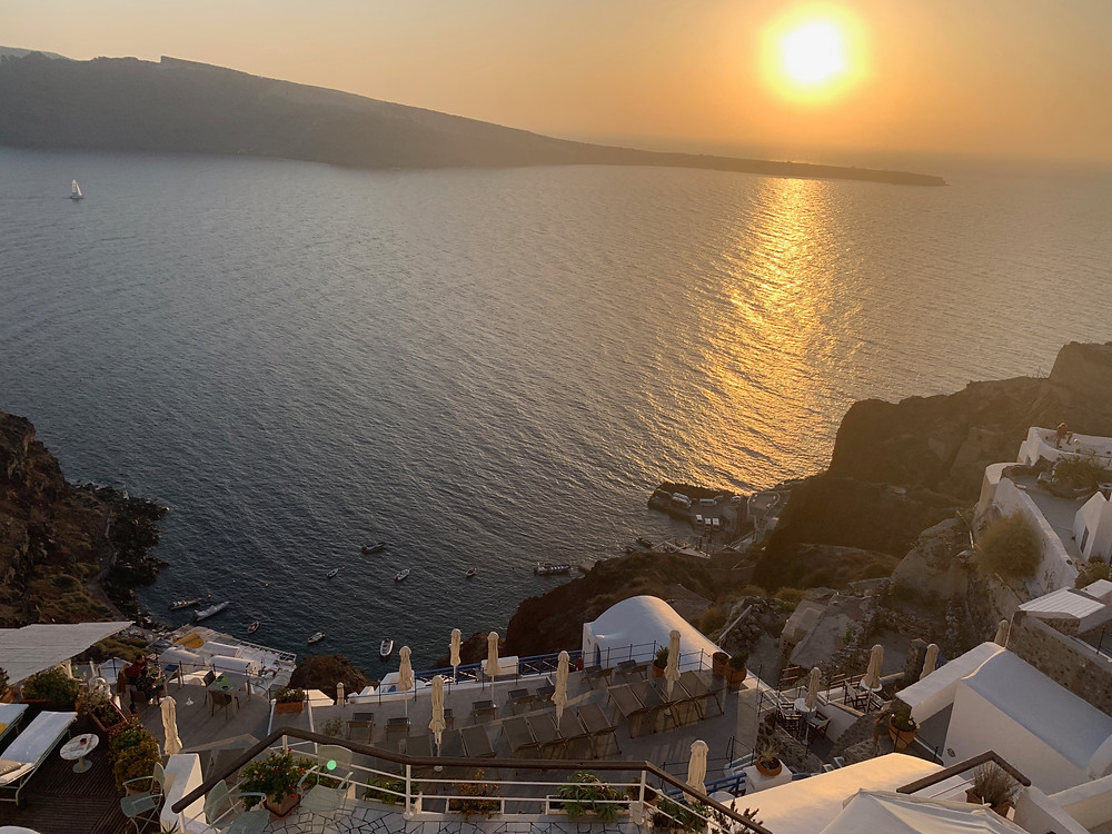 Sunset view from Fenari Villas and Restaurant in Oia Santorini Greece