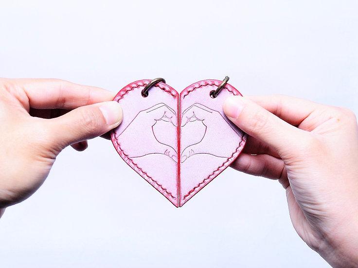 【好好縫】一人一半心形鎖匙扣|皮革D.I.Y材料包