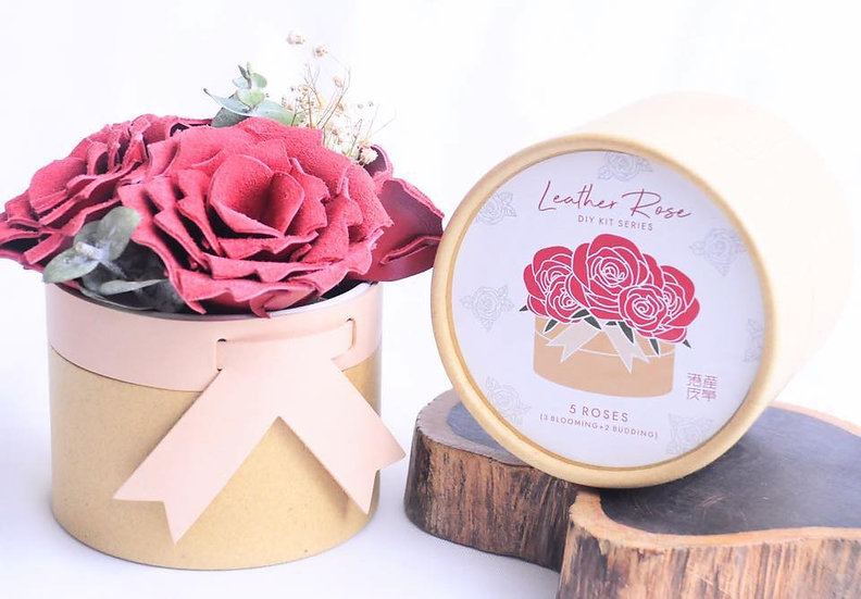 皮革玫瑰花盒|皮革D.I.Y材料包