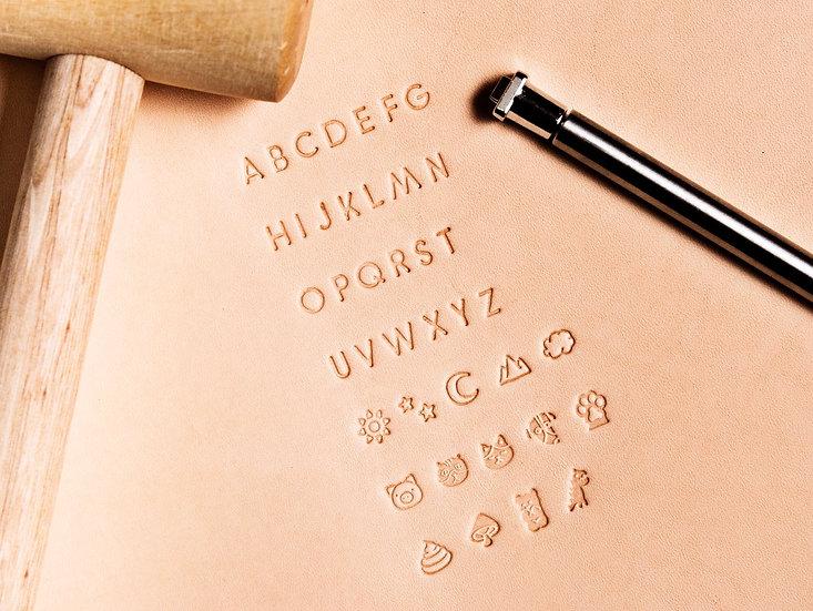 【正楷大寫連圖案壓印套裝】皮革字母模具