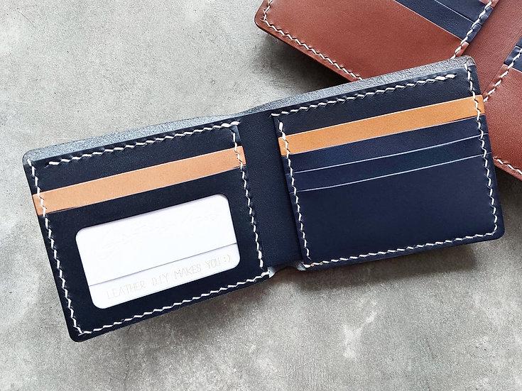 【好好縫】拼色5咭位+相位 對摺銀包|皮革D.I.Y材料包