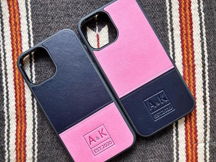 【好好縫】拼色 iPhone 皮革電話殼(情侶套裝)|皮革D.I.Y材料包