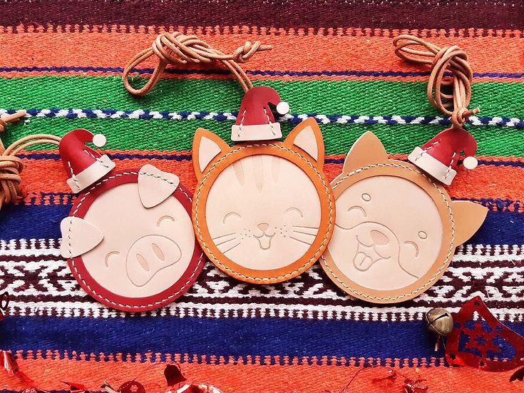 【好好縫】聖誕哈哈笑/小狗/小貓/小豬卡片套|皮革D.I.Y材料包