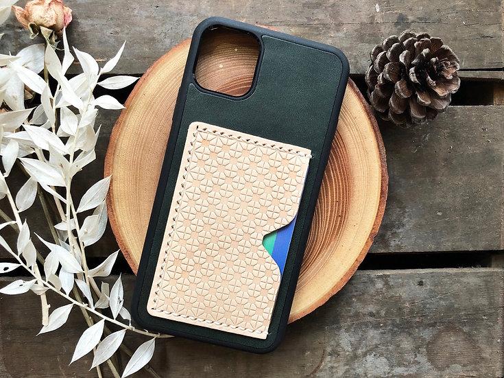 【好好縫】綠白色格仔地磚 iPhone 皮革電話殼 (咭位)|皮革D.I.Y材料包