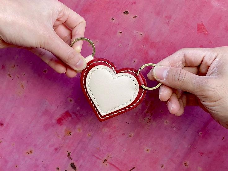 【好好縫】心心相印鎖匙扣|皮革D.I.Y材料包(情侶套裝)