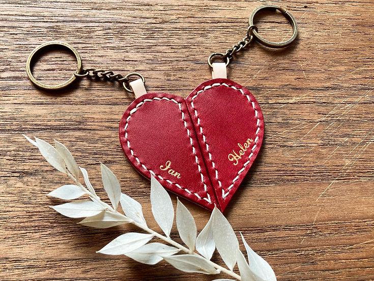 【好好縫】情侶心形鎖匙扣|皮革D.I.Y材料包