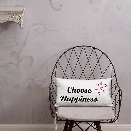 Premium Pillow - Choose Happiness (Red)