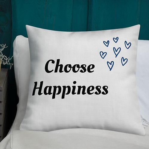 Premium Pillow - Choose Happiness (Blue)