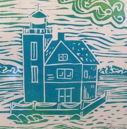 Lighthouse Block Print Aqua