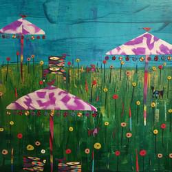 Purple Umbrellas- SOLD