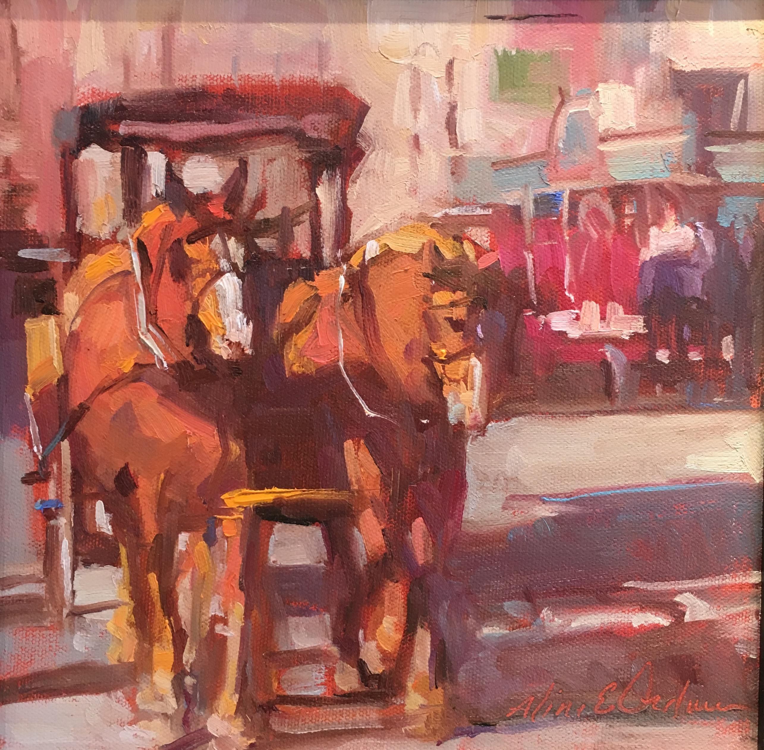 "Oil- ""Carriage Ride Down Main"""