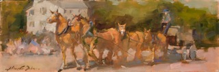 """Oil- """"Horses on Parade"""""""
