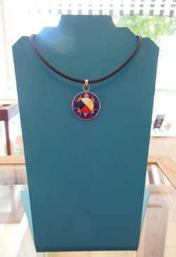 Enameled Turtle Pendant-Small Blue