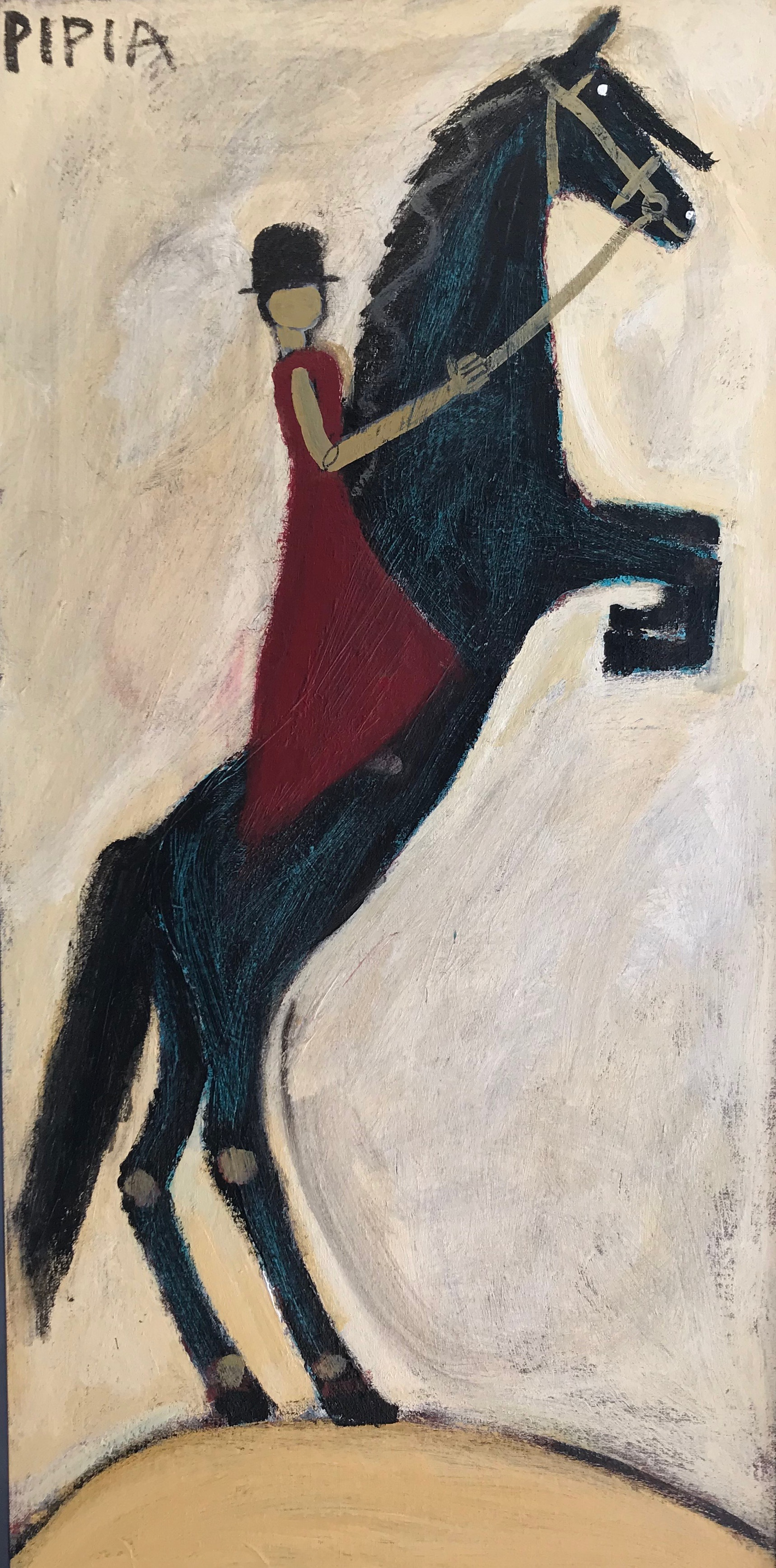 Lady with Rearing Horse-SOLD