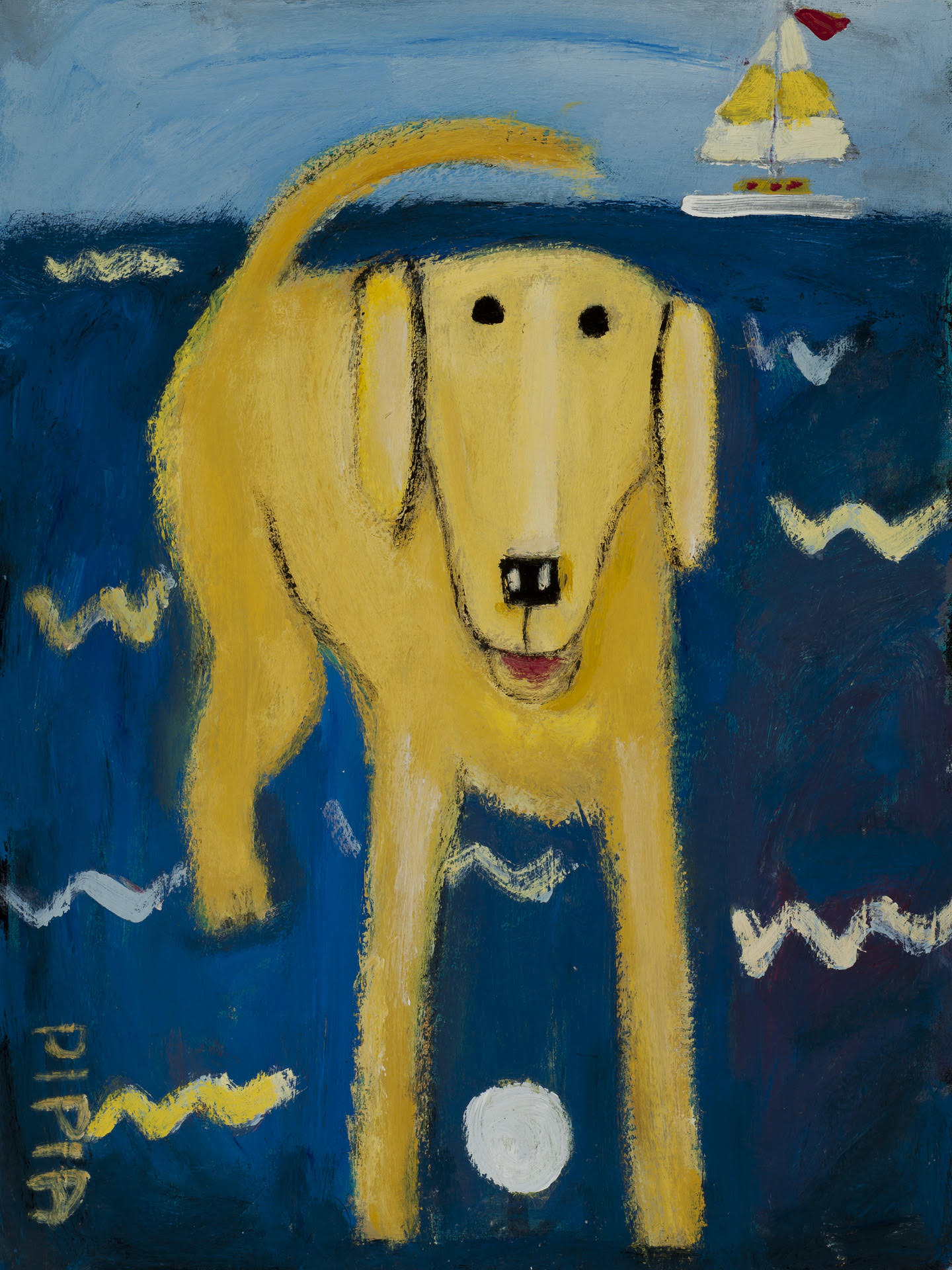 Yellow Lab at the Lake-SOLD