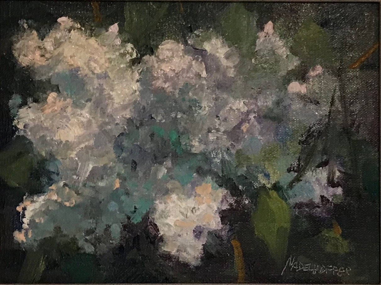 "Oil- ""White Lilacs"""