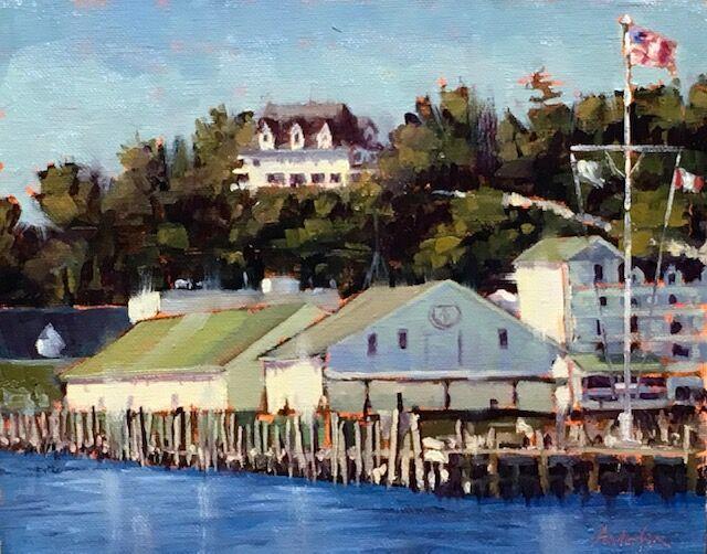 """Oil-""""Mackinac Harbor Light""""-SOLD"""