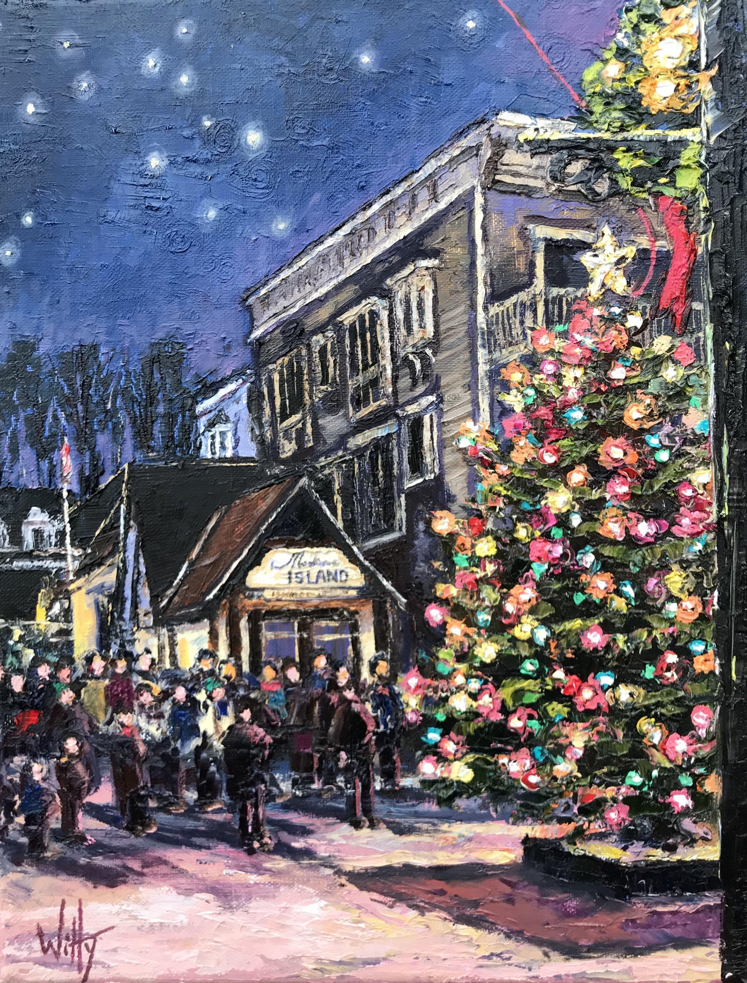 "Oil- ""Christmas Tree Lighting""-SOLD"