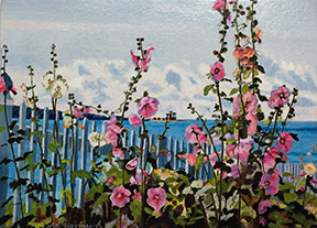 Hollyhocks Round the Lighthouse - SOLD